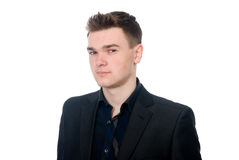 Close-up portrait of a pensive young business man Royalty Free Stock Photos