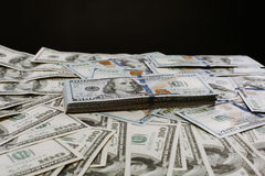 Close-up portrait photo of money. 100 dollars banknotes heap. Stock Photography