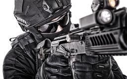 Police special forces fighter closeup studio shoot royalty free stock images