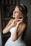 Close up portrait of pretty bride in hotel room Royalty Free Stock Images