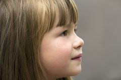 Close-up portrait of pretty little girl. Smiling child Royalty Free Stock Photo