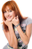 Close-up portrait of pretty red-haired girl Royalty Free Stock Photography
