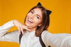 Close up portrait of a pretty teenage schoolgirl Stock Photo