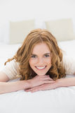 Close up portrait of a pretty woman in bed Royalty Free Stock Photography