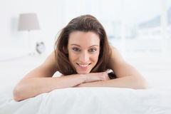 Close up portrait of pretty woman resting in bed Stock Photo