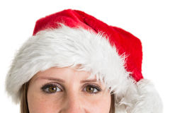 Close up portrait of pretty woman in santa hat Stock Image