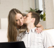 Close up portrait of pretty young couple. man and woman hugging Stock Photos