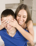 Close up portrait of pretty young couple. man and woman hugging Royalty Free Stock Photo