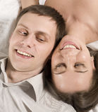 Close up portrait of pretty young couple. man and woman hugging Royalty Free Stock Images