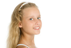 Close-up portrait of pretty young girl. Isolated on white Stock Images