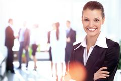 Portrait of a business woman looking happy and smiling Stock Photos