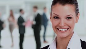 Portrait of a business woman looking happy and smiling Stock Photo