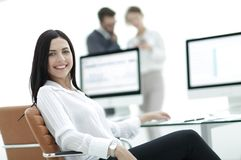 Close-up portrait of a professional young business woman stock images