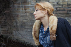 Close-up portrait in profile of woman in retro style outdoor Royalty Free Stock Photography