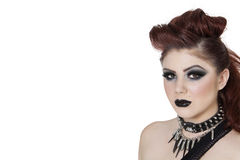 Close-up portrait of a punk woman over white background Stock Photos