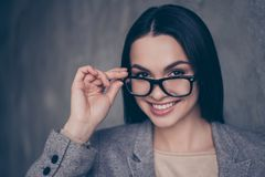 Close up portrait of qualified pretty with beaming smile clever stock images