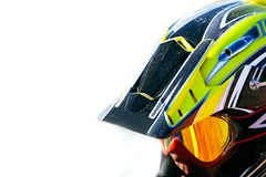 Close up portrait of racer in helmet. Over white Stock Photos