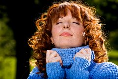 Close-up portrait of red-head lovely girl Royalty Free Stock Image