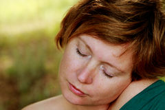 Close up portrait of redheaded woman Royalty Free Stock Photography