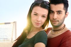 Close-up portrait of romantic couple Stock Photos