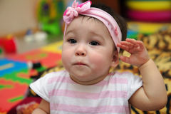 Close up portrait of sad baby girl Royalty Free Stock Photography