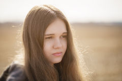 Close up portrait of sad young girl Royalty Free Stock Photo