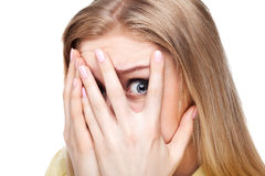 Close-up portrait of the scared woman. Stock Photos