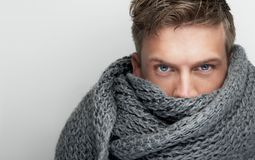 Close Up Portrait of Scarf covering Face Royalty Free Stock Image