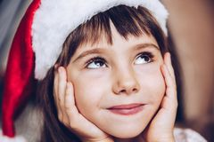 Close up portrait ,selective focus.Waiting for a miracle,Christm Stock Photo