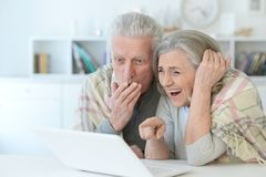 Close-up portrait of a  senior couple using laptop. At home Royalty Free Stock Photos