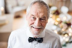 A close-up portrait of a senior man standing indoors in a room set for a party. stock photos