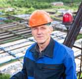 Close up portrait of senior manual worker Stock Image