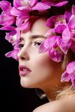 Hairstyle of flowers Royalty Free Stock Photo