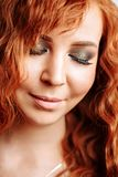 Close up portrait of young beautiful redhead girl royalty free stock photos