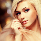 Close-up portrait of sensual young woman. Stock Photos