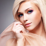 Close-up portrait of sensual young woman. Royalty Free Stock Photos