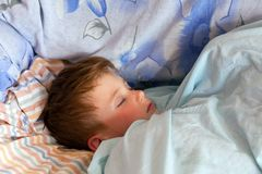 Close-up portrait of a serene sleeping little boy. In the bed Stock Images
