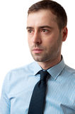 Close-up portrait of serious business man on white Royalty Free Stock Photo
