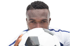 Close up portrait of a serious football player Royalty Free Stock Images
