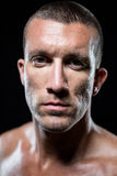 Close-up portrait of serious shirtless athlete Royalty Free Stock Photo