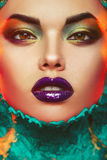 Close up portrait of sexual woman with creative make up Stock Photography