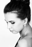 Close-up portrait of a sexy beautiful woman in little black fashion dress. black and white Royalty Free Stock Photos