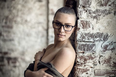 Close-up portrait sexy, beauty woman in black glasses Royalty Free Stock Image