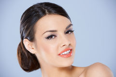 Close up portrait of brunette girl royalty free stock photo