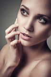 Close-up portrait of sexy caucasian young beautyful woman Royalty Free Stock Image