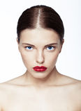 Close-up portrait of sexy caucasian young model Royalty Free Stock Images