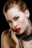 Close-up portrait of sexy caucasian young woman Stock Photography