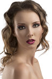 Close-up portrait of girl with purple make-up Royalty Free Stock Photos