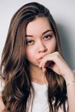 Close-up portrait of woman. Beautiful girl royalty free stock photography
