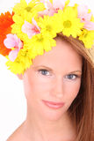 Close up portrait of a sexy woman in flower hat Stock Photography